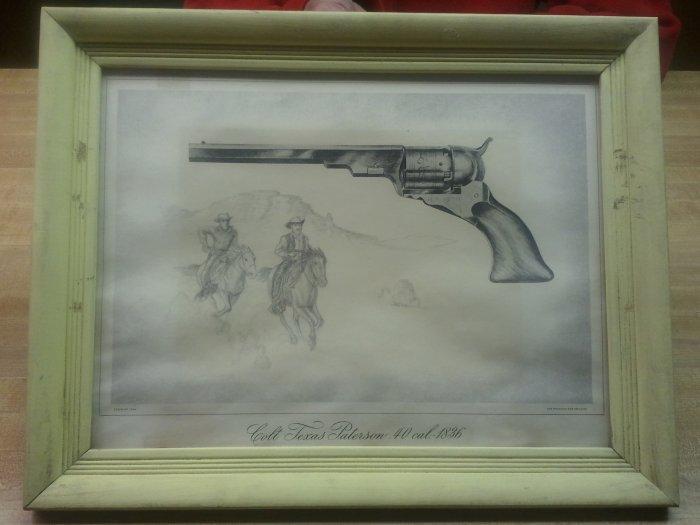 Antique Colt Revolver Prints-Framed-Copyright 1950