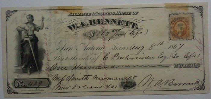 1867 W. A. Bennett check with revenue stamp
