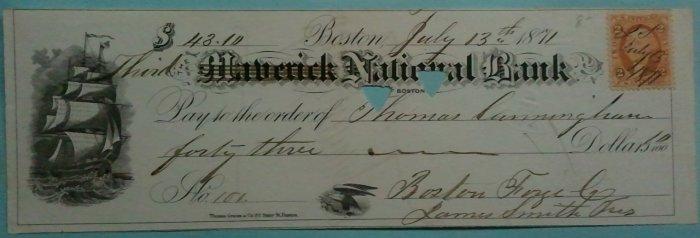 1871 Maverick National Bank check, Boston MA