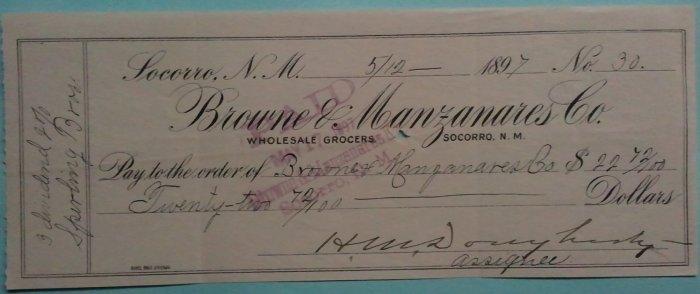 1897 Socorro NM territorial dividend check
