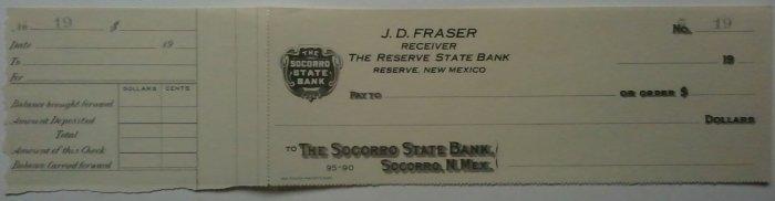 Socorro State Bank, Reserve New Mexico- unused