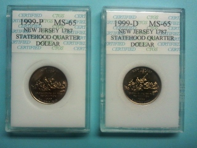 Set of 1999 New Jersey P&D State Quarters, Certified