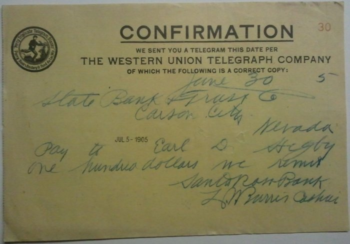 Western Union Telegraph- Carson City, NV 1905