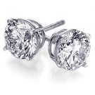Genuine 1ct Round DIAMOND Earrings VS2 / H 14K GOLD