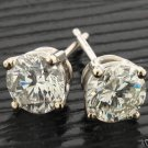 1 CARAT DIAMOND STUD EARRINGS SI H-I COLOR ROUND 14ktwg