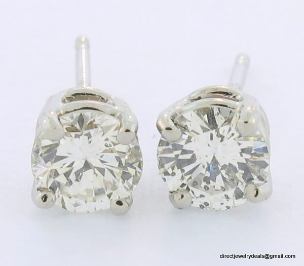 Genuine 1 ct ROUND DIAMOND STUD 14K WG EARRINGS SI2 I