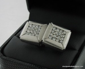 Genuine 18K White Gold 1ct DIAMOND Cuff LINKS CUFFLINKS