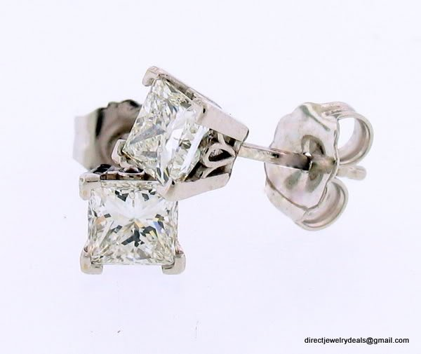 1 ct PRINCESS CUT DIAMOND STUD 14K WG EARRINGS VS2 H