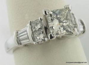 Genuine 1.50ct Princess Diamond Engagement Ring 18KWG