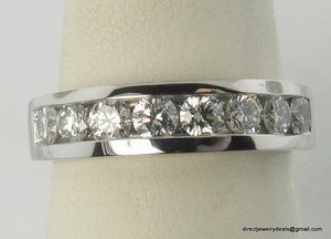 Genuine .80 CT Diamond Anniversary Band Ring Platinum