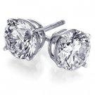 Genuine 1 ct Round Diamond Stud Earrings14K White Gold