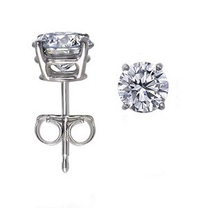 Genuine .23ct Round Diamond Stud Earrings14K White Gold