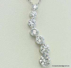 Genuine 2ct Round DIAMOND Journey Necklace 14KWG H SI1