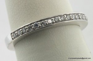 Genuine DIAMOND Wedding Band 14K White Gold H SI1