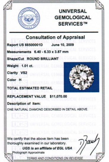 EGL Cert. Genuine 1.01 CT Round LOOSE Diamond VS2 / H