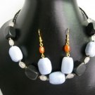 "17""-19"" Genuine Onyx & Agate Necklace & Earrings Set"