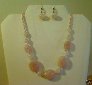 "17""-20"" Genuine Pink Quartz Necklace Earring Set - HOT"