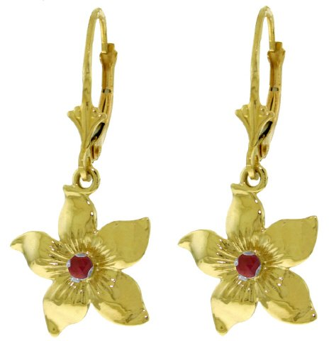 14K SOLID GOLD LEVERBACK FLOWERS EARRING WITH RUBIES