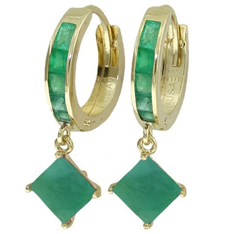 14K SOLID GOLD HOOP EARRING WITH 4.2 CT DANGLING EMERALDS