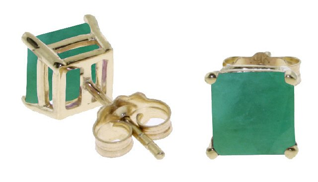 14K SOLID GOLD STUD EARRING WITH NATURAL 2.9 CT EMERALDS