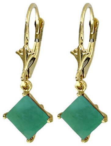 14K SOLID GOLD LEVERBACK EARRING WITH NATURAL 2.9 CT EMERALD