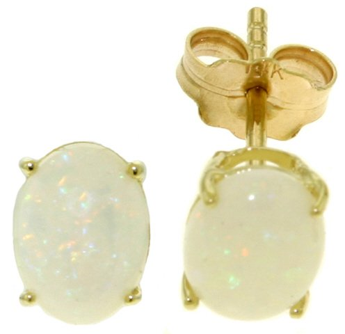 14K SOLID GOLD STUD EARRING WITH NATURAL OPALS