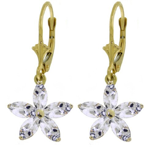 14K GOLD LEVERBACK EARRING WITH NATURAL WHITE 2.8 CT TOPAZ