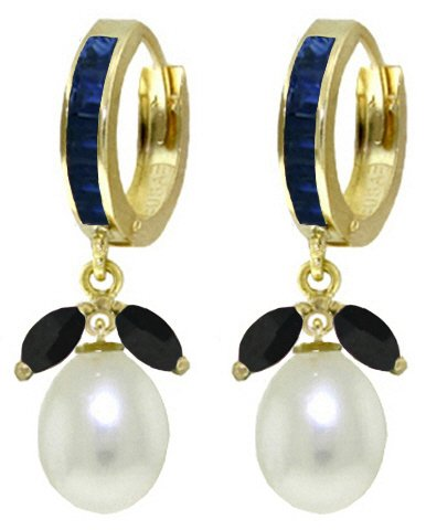 14K SOLID GOLD HOOP EARRING WITH SAPPHIRES & PEARLS