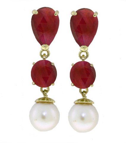 14K GOLD CHANDELIER EARRING WITH RUBIES & PEARLS