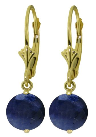 14K SOLID GOLD LEVERBACK EARRING WITH 3.3 CT SAPPHIRES