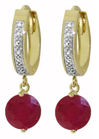 14K SOLID GOLD HOOP EARRING WITH 4.03 CT DIAMONDS & RUBIES