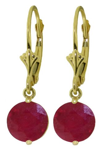 14K SOLID GOLD LEVERBACK EARRING WITH 4 CT RUBIES