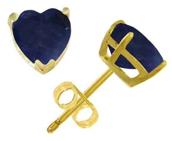 14K GOLD STUD EARRING WITH NATURAL 3.1 CT HEART SAPPHIRES