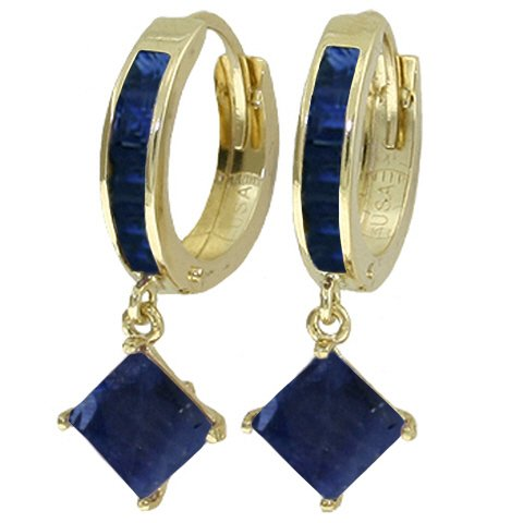 14K SOLID GOLD HOOP EARRING WITH DANGLING 4.2 CT SAPPHIRES