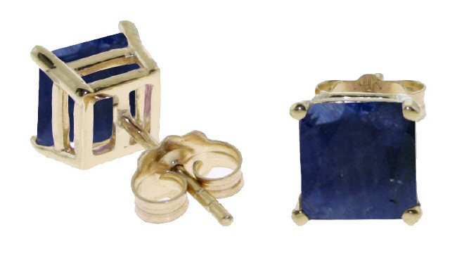 14K SOLID GOLD STUD EARRING WITH NATURAL 2.9 CT SAPPHIRES