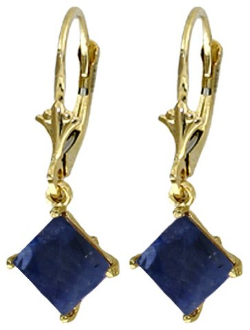 14K GOLD LEVERBACK EARRING WITH NATURAL 2.9 CT SAPPHIRES