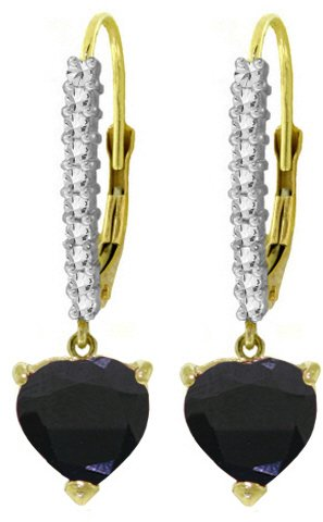 14K LEVER BACK EARRINGS WITH NATURAL 3.4 CT DIAMONDS & SAPPHIRE