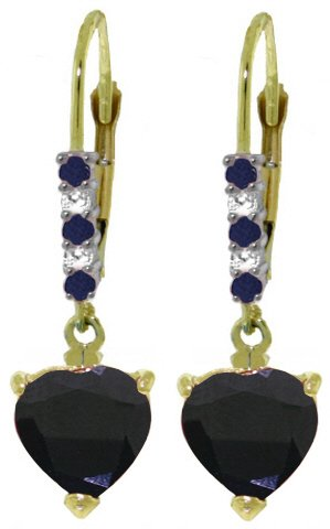 14K GOLD LEVER BACK EARRINGS WITH 3.28 CT DIAMONDS & SAPPHIRES
