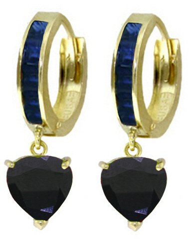 14K SOLID GOLD HOOP EARRING WITH NATURAL 3.95 CT SAPPHIRES