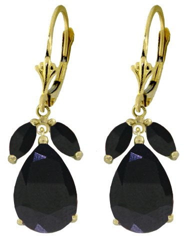 14K GOLD LEVERBACK EARRING WITH NATURAL 10.3 CT SAPPHIRES
