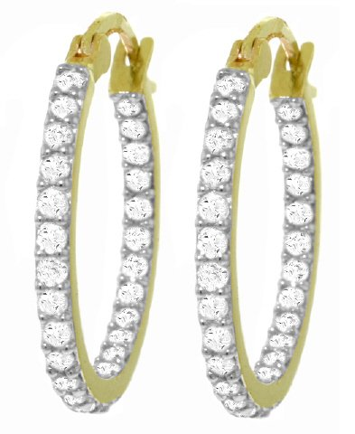14K SOLID GOLD HOOP EARRING WITH 3/4 CT NATURAL DIAMONDS