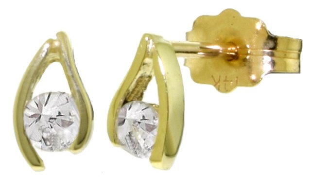 14K GOLD STUD EARRINGS WITH 0.20 CT NATURAL DIAMONDS