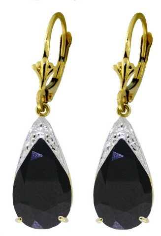 14K GOLD LEVERBACK EARRING 9.3 CT NATURAL SAPPHIRES