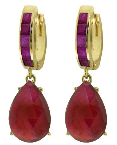 14K SOLID GOLD HUGGIE EARRING WITH 11.3 CT DANGLING RUBIES