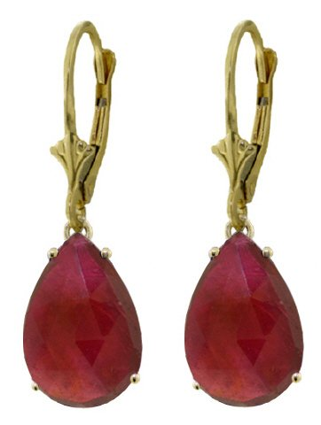 14K GOLD LEVER BACK EARRINGS WITH 10 CT NATURAL RUBIES
