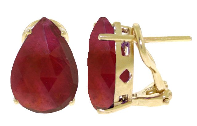 14K GOLD FRENCH CLIPS EARRING WITH 10 CT NATURAL RUBIES