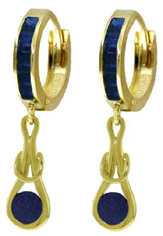 14K SOLID GOLD HUGGIE EARRINGS 2.6 CT DANGLING SAPPHIRE