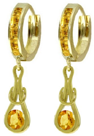14K SOLID GOLD HUGGIE EARRINGS WITH 2 CT DANGLING CITRINES