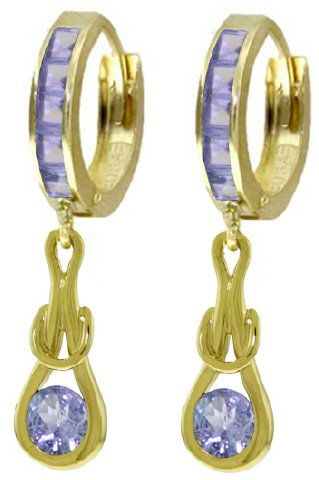 14K GOLD HUGGIE EARRINGS WITH 2.25 CT DANGLING TANZANITES