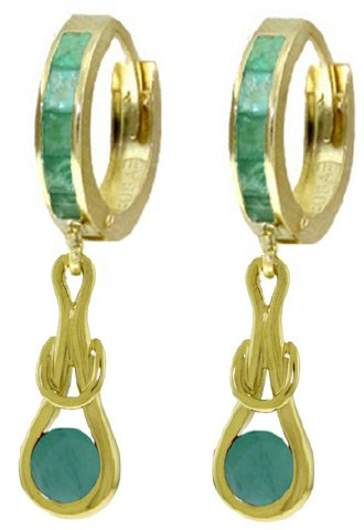 14K SOLID GOLD HUGGIE EARRINGS WITH 2.1 CT DANGLING EMERALDS